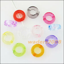 50 New Charms Plastic Acrylic Clear Round Circle Spacer Beads Frame Mixed 12mm