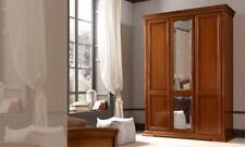 Kleiderschrank 3 türig Spiegel  Ducale Kirschbaum Furnier Holz Stilvoll  Italy