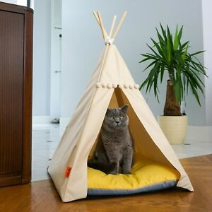 Cat Teepee bed - Yellow, cat bed including pillow*luxury cat house*cat tent