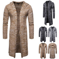 Mens Long Sleeve Hooded Knitted Cardigan Slim Fit Casual Sweater Coat Jacket