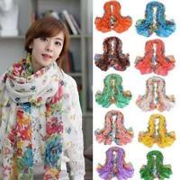 Women Long Shawl Floral  Stole Scarves Soft Georgette Scarf Wraps 15 St K3Q7