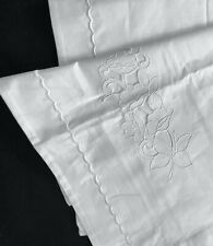 """VINTAGE HUGE EUROPEAN 35x24"""" PILLOW SHAM white Embroidered cutwork buttoned back"""