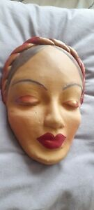 Art Deco Style lady face/plaque/mask wall hanging,hand painted