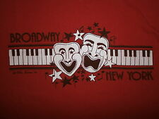 vtg 80s BROADWAY NEW YORK CITY T SHIRT Comedy Tragedy Mask Musical Theater Piano