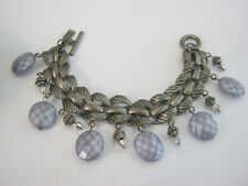 Kien vintage modernist silvertone link bracelet, smoky blue stones, toggle close
