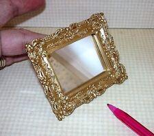 Miniature Elegant Rectangular Wall Mirror (#3) Gold Resin Frame: DOLLHOUSE 1/12