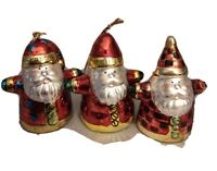"Set Of 3 Porcelain Santa Shiny Gold Red White 3"" Tall Christmas Tree Ornaments"