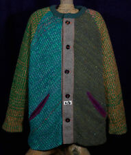 Mens Handmade Knitted Multi Wool Boho Long Jersey Sweater Jacket Cardigan XL XXL
