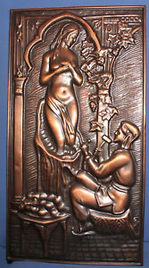 Vintage Russian wall hanging copper plaque sculptor model nude woman statue
