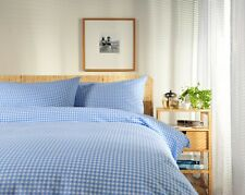 100% Cotton Blue and White Gingham Check Duvet Cover Set Double Size Reversible