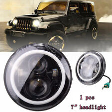 7'' Round LED HI Lo Headlight Halo Angle Eyes Light For Harley Jeep Wrangler
