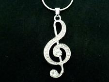 New Treble Clef Necklace Silver Plated Women Austrian Crystal Pendant