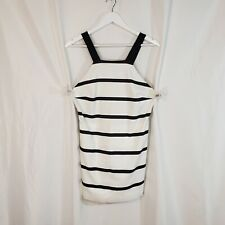 Zara Trafaluc L sleeveless skort romper striped stretch black cream NEW summer