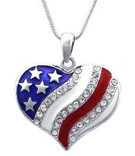 Patriotic July 4th USA US American National Flag Heart Pendant Necklace Jewelry