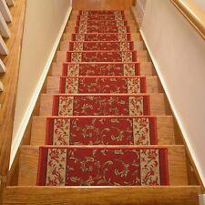 Stairway Tread Set 13 Non Slip Carpet Anti Skid Safety Pad Step Stairs Red Leaf