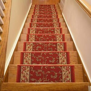 Stairway Tread Set 13 Non Slip Carpet Anti Skid Safety Pad Step Stairs Red Leaf