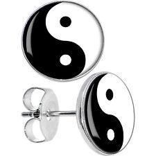 Ying Yang Yin Yan Black & White Earring Disc Ear Studs One Pair Surgical Steel