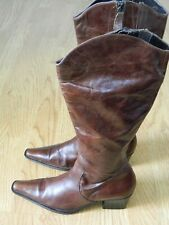 M&S Ladies Heeled Boots Brown Leather Size 4 / 37