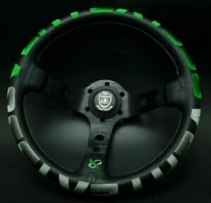 320mm Vertex 1996 Green Stitch Leather Deep Dish Steering Wheel For OMP Hub Race