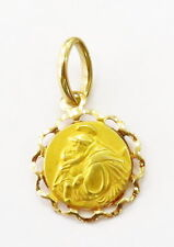 18K Yellow Gold Blessing a Baby Religious Medal Charm Pendant ~0.9g