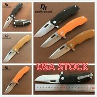 "7.9"" Ball Bearing Folding Knife D2 Blade G10 Flipper Tactical Knives Camping"