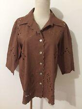 Susan Graver Style Button-Front Linen Blend Shirt Blouse Brown Cut-Out Size M