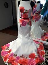 NWT 2pc White Pink Floral Prom Pageant Crop Top Mermaid Skirt Dress XS S M L