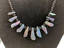 Necklace Purple Titanium Crystal Agate Druzy Quartz Geode w black Beads