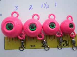 4 FLUKE EAR BALL JIGS NEON PINK/GREEN EYE & #3 SWIVEL, 3,2,1-1/2,1 OZ. 1 EACH