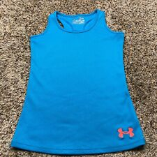 Youth Girls Under Armour HeatGear Fitted Victory Blue Tank Top Size Small YSM