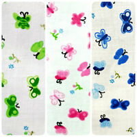 """FLORAL BUTTERFLY PRINT ON WHITE POLY COTTON FABRIC 60"""" BY THE YARD 4 COLORS"""