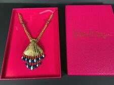 """Lilly Pulitzer 30"""" Long Bombshell Statement Necklace Gold Shell Blue Turquoise"""