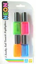 Pack of 4 Neon Highlighter Pens - Novelty Nail Varnish Shaped Highlighters