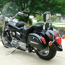 Motorcycle Hard Saddle Bag Trunk Luggage w/ Lights For Kawasaki Cruiser Vulcan