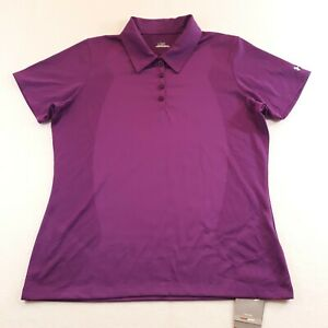 Under Armour Heat Gear Womens Size Large Purple Golf Polo Shirt Athletic New