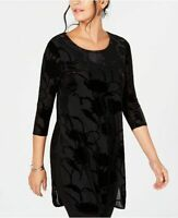 Alfani Womens XS Black Burnout Velvet Tunic Top Blouse Velour 3/4 Sleeve Floral