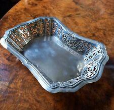 More details for large edwardian sterling silver pierced border basket 1903 birmingham 237 grams