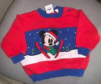 VTG Disney Snow time Mickey Mouse Skiing Red Blue Sweatshirt Pullover Baby 12 MO
