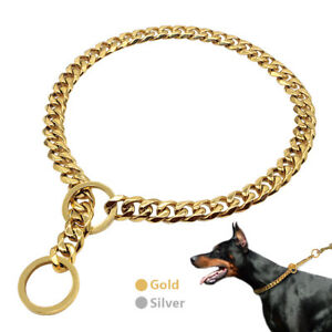 Medium Large Chain Dog Collar Heavy Dog Choke Collar Stainless Steel Gold Silver