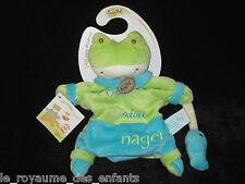 Doudou Marionnette Grenouille verte bleue Zoé adore nager Babynat' Baby Nat'