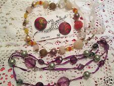 Vintage Laila Rowe Art Glass Bead Necklace Goldtone Lizzid Earrings Jewelry Lot