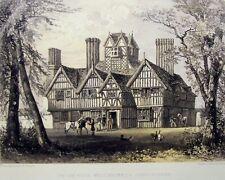 A. E. Everitt Original 1858 Color Lithograph Oak House West Bromwich 11 by 17