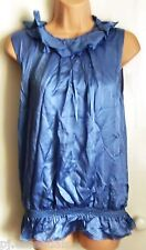 Pied A Terre Frill Neck Top - Sky Blue - Size 8 BNWT