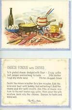 VINTAGE SWISS CHEESE HAM WINE FONDUE COOKING CHIVES RECIPE PRINT 1 GARDEN CARD