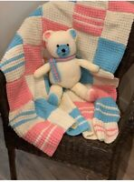 Toy Teddy Bear with Baby Blanket Knitting Pattern