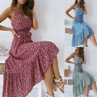 Women  Summer Floral Strappy Long Maxi Dress Ladies Holiday Beach Party Sundress
