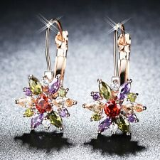 Ladies Beauty Colorful Crystal Sunflower 18K Rose Gold Filled Hoop Earrings