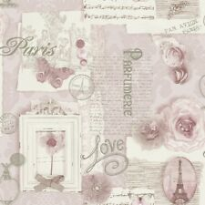 Shabby Chic Soft Pink Felicity Paris Love Floral Feature Wallpaper 665403