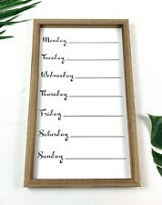 """NEW Wood Framed Deluxe Farmhouse 12"""" X 20"""" White Ashland Weekly Message Board"""