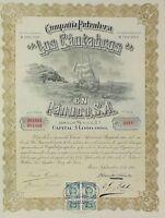 """MEXICO P/35 COMPAÑIA PETROLERA """"LOS CANTABROS"""" 100 acciones de un peso de 1915"""